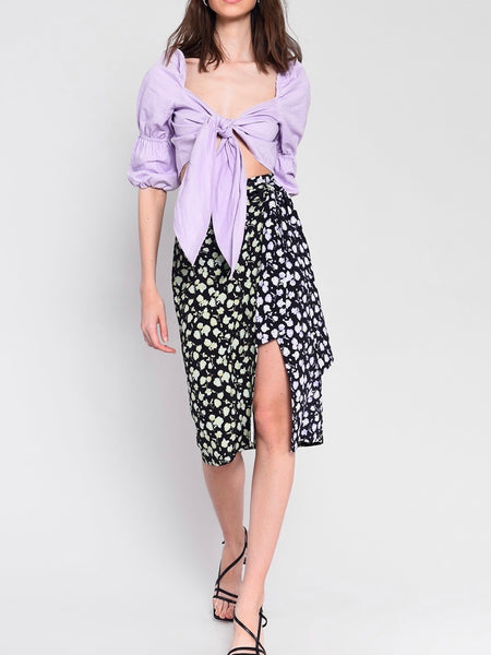 Lilac Green Rose Midi Skirt