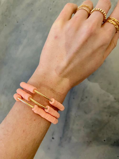Onie + Sky Gold Bar Bracelet - Peach