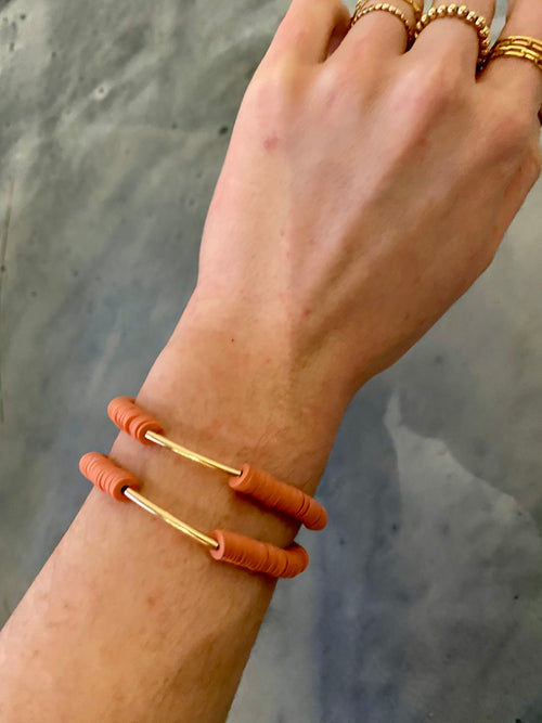 Onie + Sky Gold Bar Bracelet - Salmon