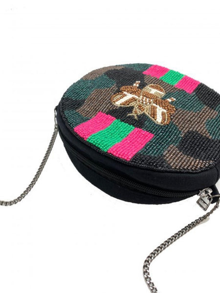 Hunter Bee Beaded Round Bag