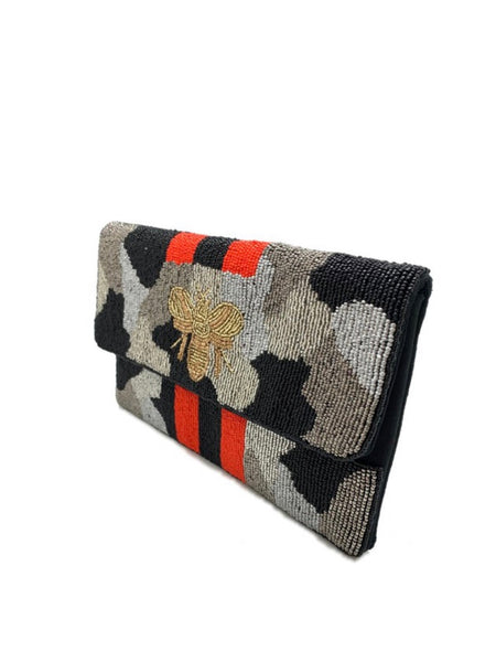 Camo Be Red Beaded Clutch