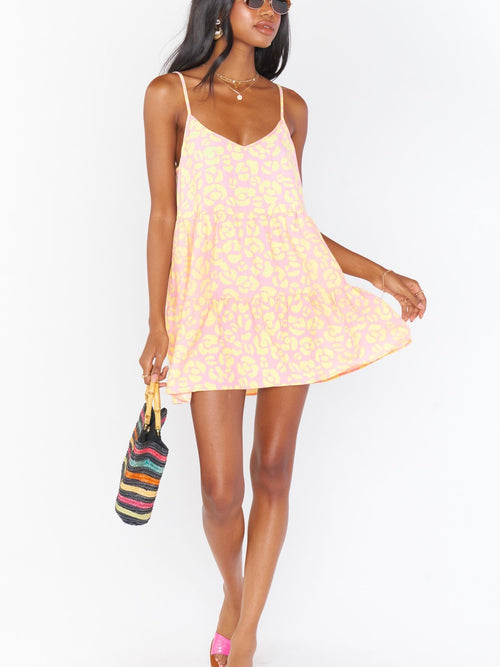 Caroline Mini Dress in Lemonade Cheetah