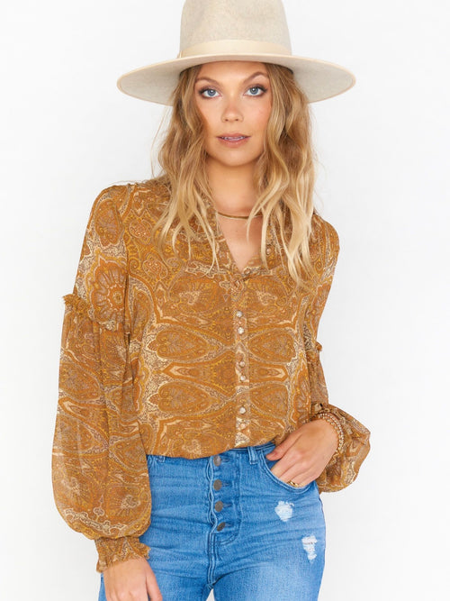 Georgie Top in Golden Paisley