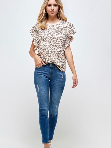Celia Printed Blouse in Ivory Combo