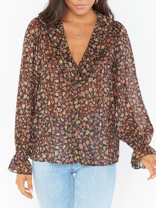 Bren Blouse in Midnight Floral