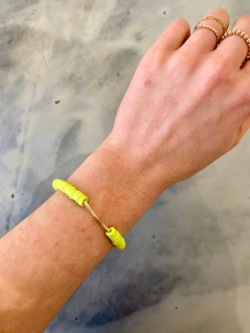 Onie + Sky Gold Bar Bracelet - Lime Green