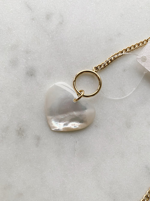 Mother of Pearl Heart Toggle Necklace