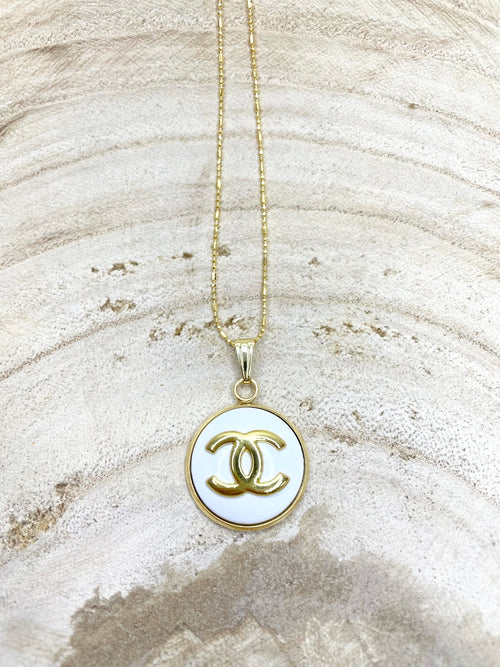 CC White & Gold Classic Charm Necklace