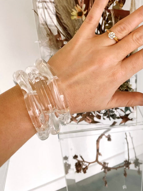 The Sutton Solid Acrylic Bracelet in Clear