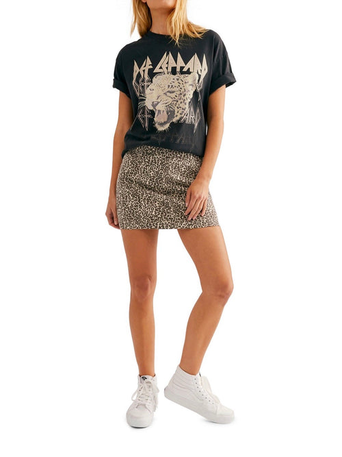 Modern Femme Novelty Denim Skirt in Leopard