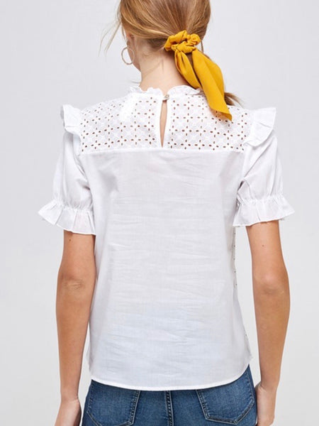 Puff Sleeve Eyelet You Go Blouse