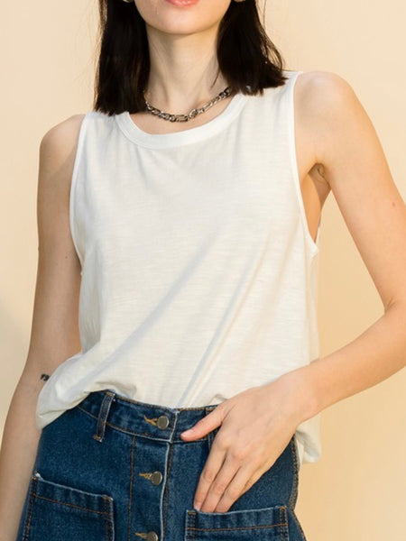 Basic Babe Curve Hem Top in Off White