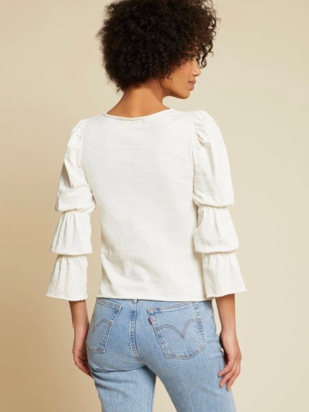 Cassandra Gathered Sleeve Tee