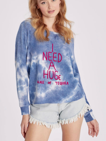 HUGe Glass of Tequila Cutout Sweatshirt