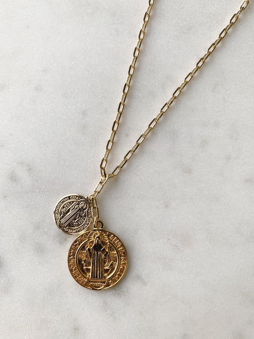 Saint II St. Benedict Coin Necklace
