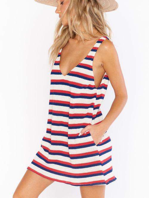 Teeny Dress in Patriot Stripe