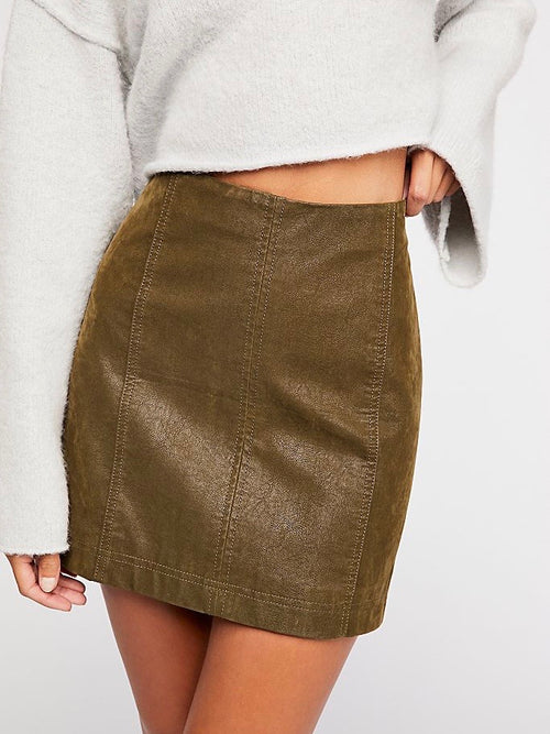 Modern Femme Vegan Suede Mini Skirt in Cedar