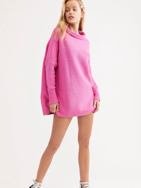 Ottoman Slouchy Tunic in Electric Pink