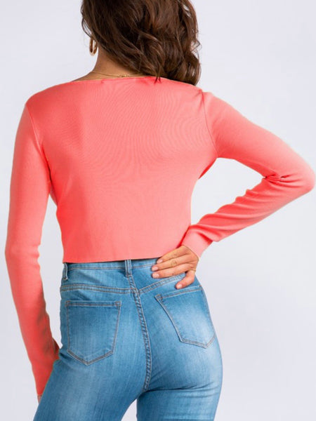 Siena Square Neck Crop in Coral
