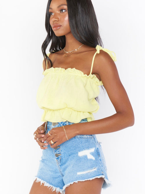 Keen Crop Top in Lemon