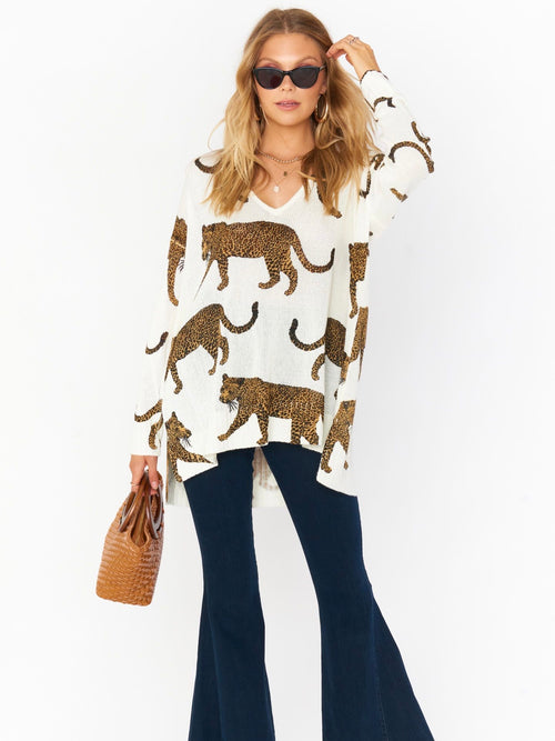 Hug Me Sweater in Tossed Leopard