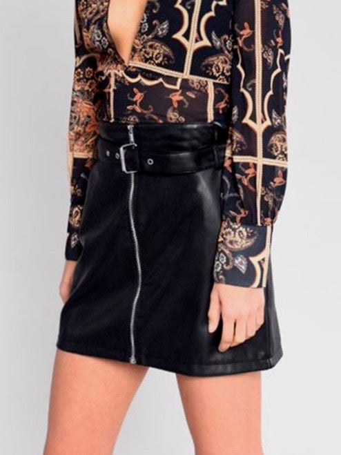 Zip It Up Faux Leather Mini Skirt