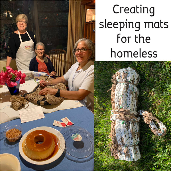 We learn how to turn discarded plastic bags into comfy homeless sleeping mats!