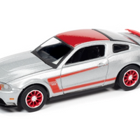 Auto World 2012 Ford Mustang Boss 302 Laguna Seca - Silver with red stripes