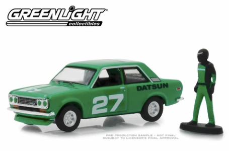 Greenlight - 1970 Datsun 510 with Race Car Driver