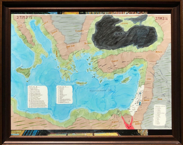 Biblical Events Map - Signed Original by Giacobbe Mazone