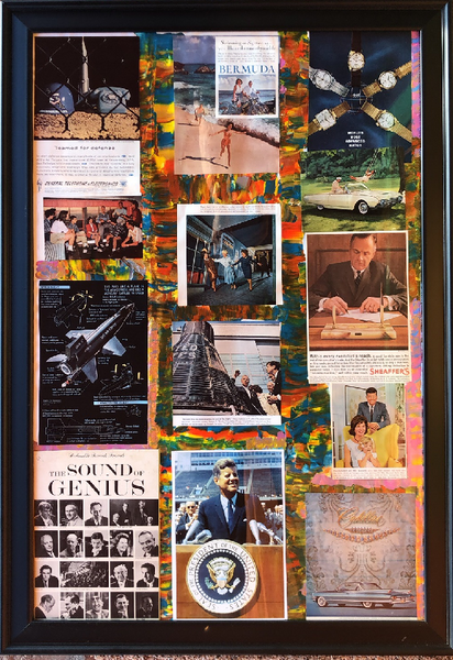 The Colorful JFK Era - Painted Collage by Giacobbe Mazone