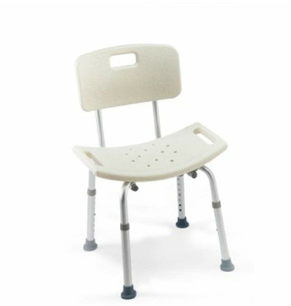 Careguard Tool-Less Shower Chair with Back, NEW