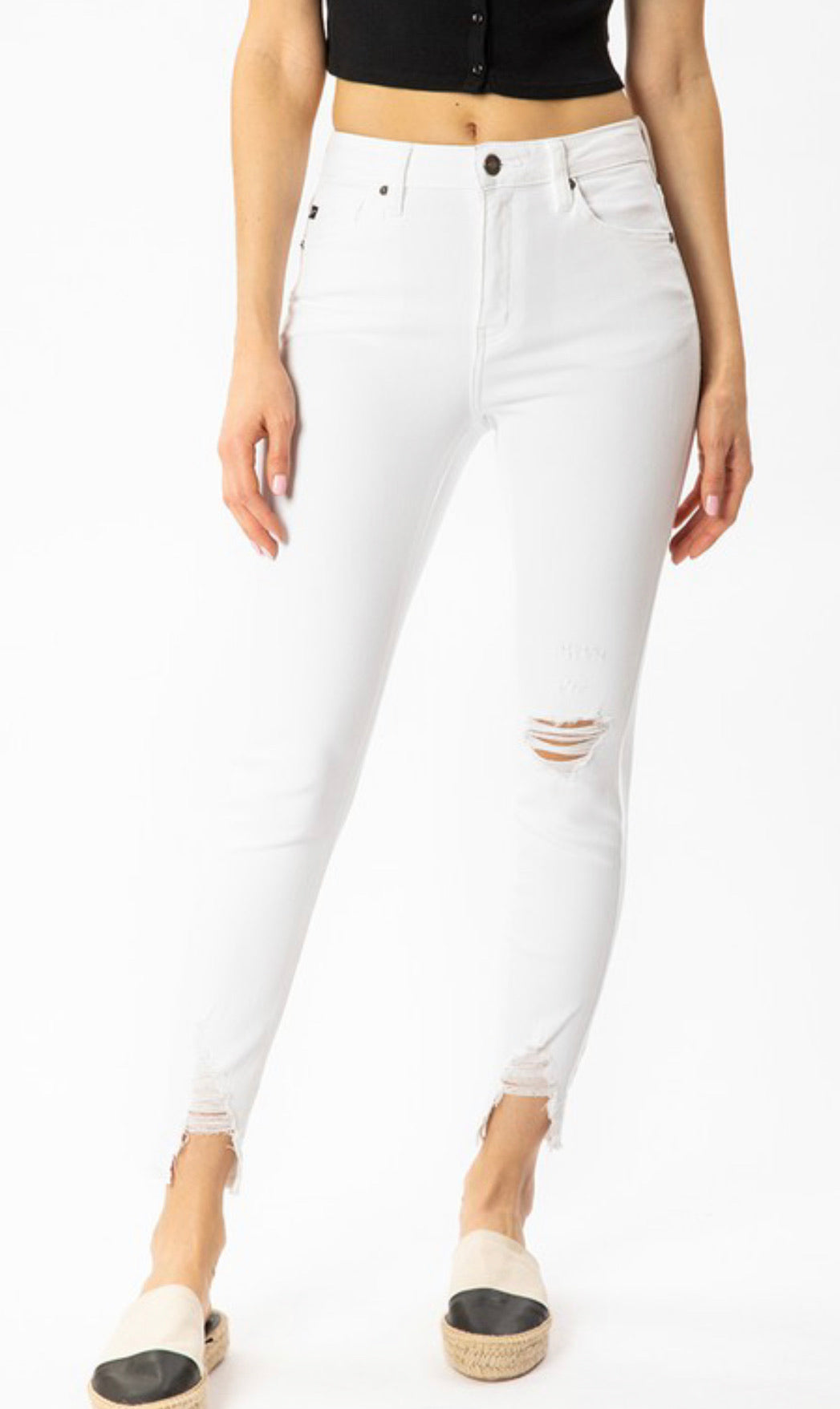 Kan Can White Distressed Ankle Skinny Jeans