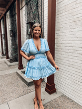 Load image into Gallery viewer, Blooming Love Blue Ruffle Dress