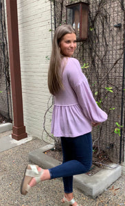 Secret Obsession Purple Waffle Knit Top
