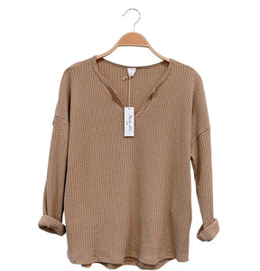 Intrigued By You Waffle Knit Sweater Top- Taupe