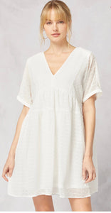 This Is Fate Babydoll Dot Dress- Off White