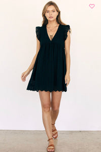 Collins Embroidered Lace Romper/ Dress- Black