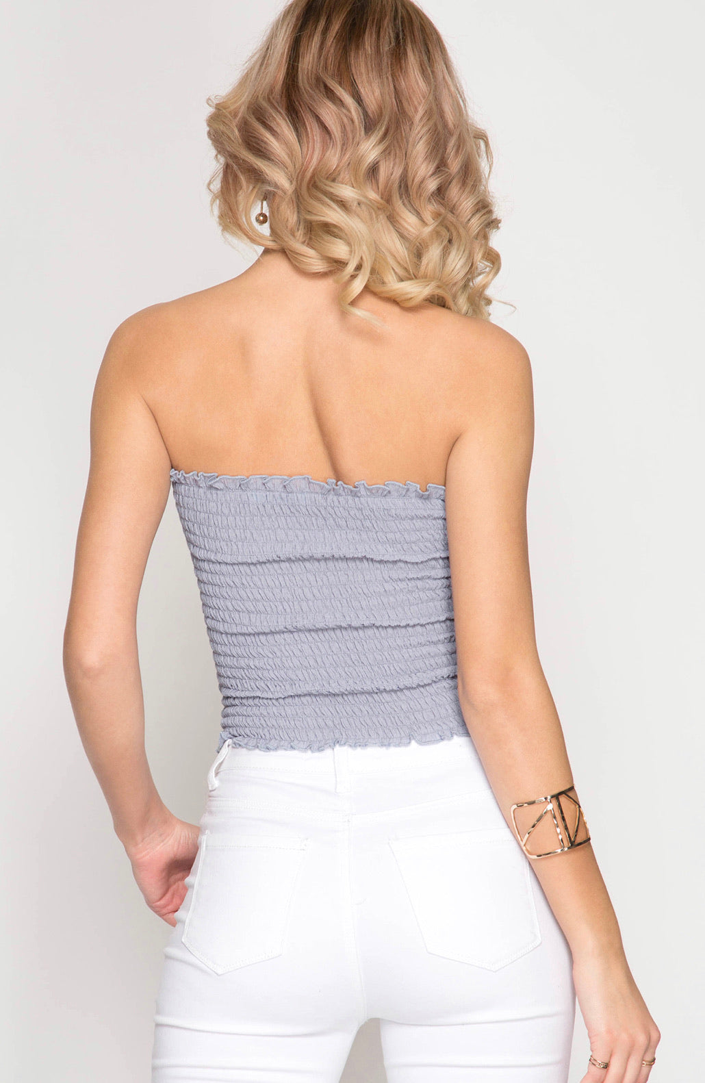 Backroad Songs Tube Top- Blue Grey