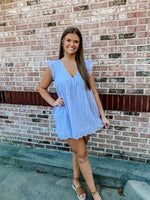 Load image into Gallery viewer, Collins Embroidered Lace Romper/ Dress- Washed Blue