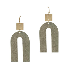 Grey Wood & Gold Geometric Earrings