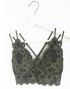 These Are The Days Bralette- Dark Olive