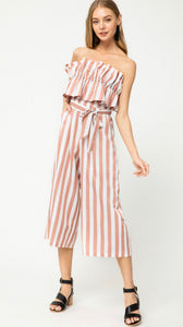 Off To Paradise Striped Jumpsuit