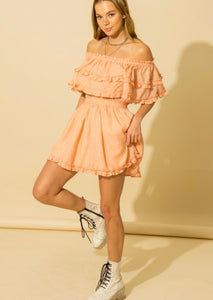 Just Peachy Ruffle Dress