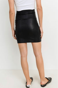 Heart Set On You Black Snakeskin Skirt