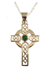 Celtic Cross with Green Stone