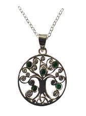 Tree of Life Pendant with Trinity Knot and Green CZ Stones