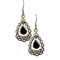 Knot Drop Earrings with Black Onyx