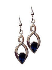 Celtic Knot Earrings with Blue Stone