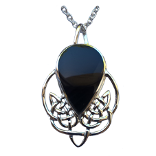 Large Silver Pendant with Black Onyx or Pawa Shell Stone